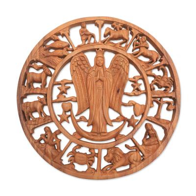 Wood relief panel, 'Angelic Zodiac' - Angel Zodiac Suar Wood Relief Panel from Bali