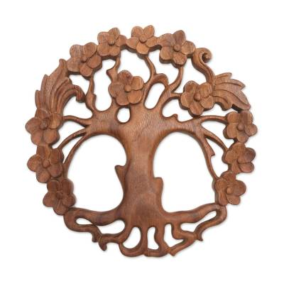 Wood relief panel, 'Tree of Beauty' - Circular Tree-Themed Suar Wood Relief Panel from Bali