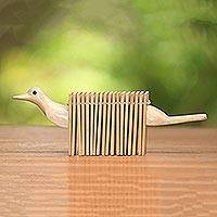 Wood clacker instrument, 'Singing Dove' - Jempinis Wood Dove Shaped Percussion Instrument from Bali