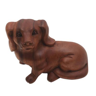 Suar Wood Sculpture of a Relaxing Dog from Bali
