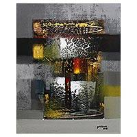 'An Artistic Old Gate I' - Neutral and Gold-Tone Abstract Painting from Bali