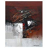 'Stopped When Golden Scratch Is There' - Signed Abstract Painting in Red and White from Bali
