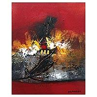'Twilight Princess' - Bright Red Abstract Painting by a Balinese Artist