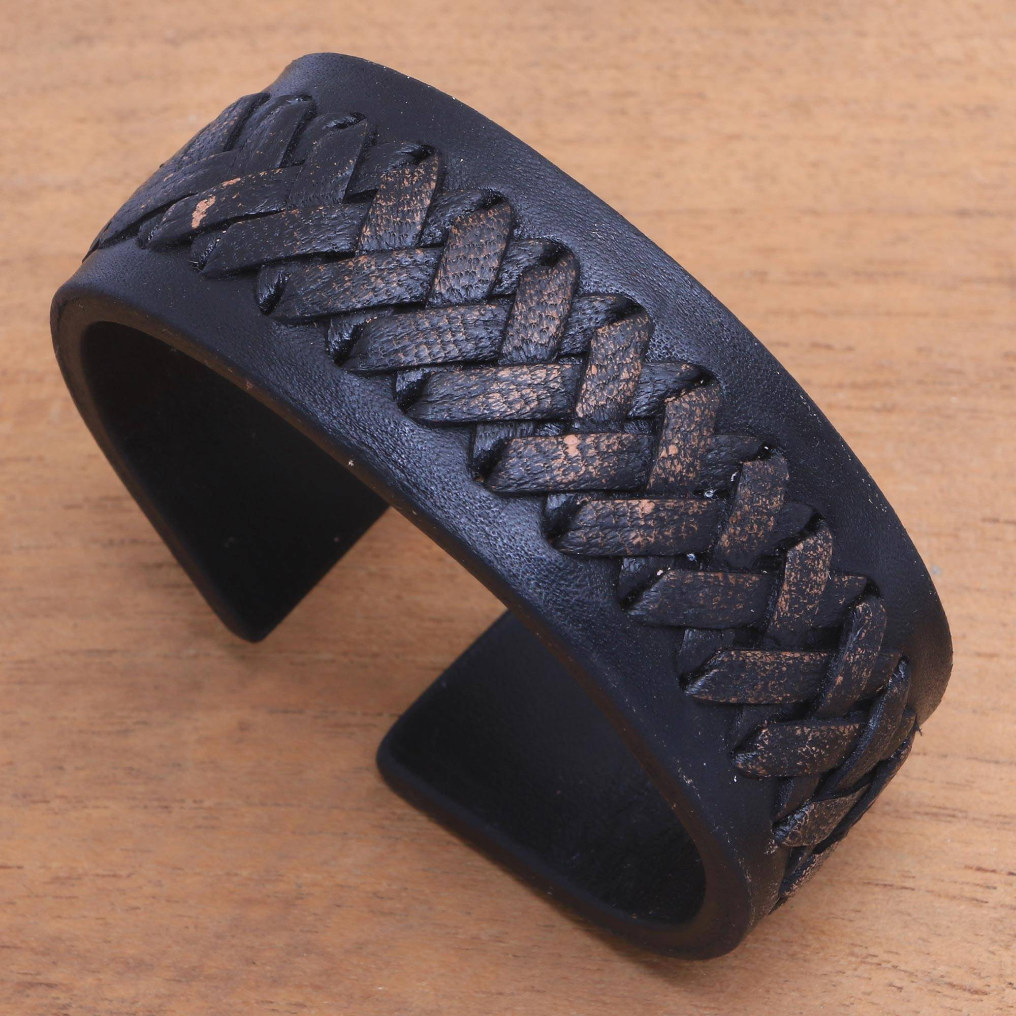 9637283282364 Black Leather Cuff Bracelet with Criss-Cross Laces, 'Tenacity'