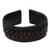 Leather cuff bracelet, 'Tenacity' - Black Leather Cuff Bracelet with Criss-Cross Laces (image 2a) thumbail