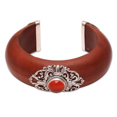 Carnelian and wood cuff bracelet, 'Fiery Elegance' - Carnelian Sterling Silver and Sawo Wood Cuff Bracelet