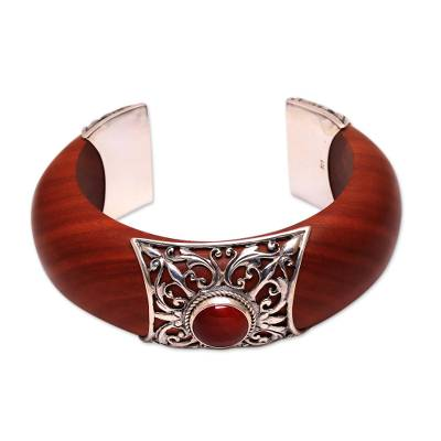 Carnelian and wood cuff bracelet, 'Fiery Grace' - Carnelian Set In Sterling Silver and Sawo Wood Cuff Bracelet