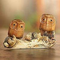 Wood sculpture, 'Owl Romance' - Jempinis Wood Owl Sculpture from Bali