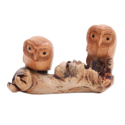 Wood sculpture, 'Owl Romance' - Jempinis Wood Owl Sculpture from Bali