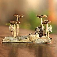Wood sculpture, 'Mushroom Field' - Jempinise Wood Mushroom Sculpture from Bali