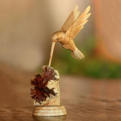 Wood sculpture, Feasting Hummingbird