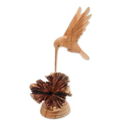 Wood sculpture, 'Feasting Hummingbird' - Jempinis Wood Hummingbird Sculpture from Bali