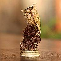 Wood sculpture, 'Perched Owl'