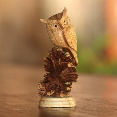 Jempinis and parasite wood owl sculpture from bali perched owl