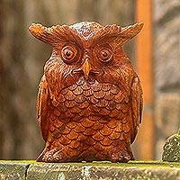 Wood sculpture, 'Owl Elder' - Hand-Carved Suar Wood Owl Sculpture from Bali