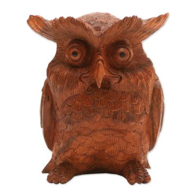 Wood sculpture, 'Owl Elder' - Hand-Carved Suar Wood Owl Sculpture from Bali