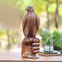 Wood sculpture, 'Falconer's Friend' - Hand-Carved Suar Wood Falconer Sculpture from Bali