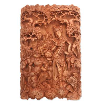 Wood relief panel, 'Sita and Hanuman' - Ramayana-Themed Cempaka Wood Relief Panel from Bali