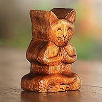 Wood puzzle box, 'Meditating Cat' - Handmade Suar Wood Cat Puzzle Box from Bali