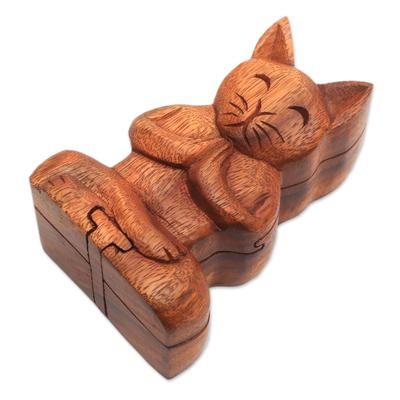 Wood puzzle box, 'Meditating Cat' - Handmade Suar Wood Cat Puzzle Box from Bali