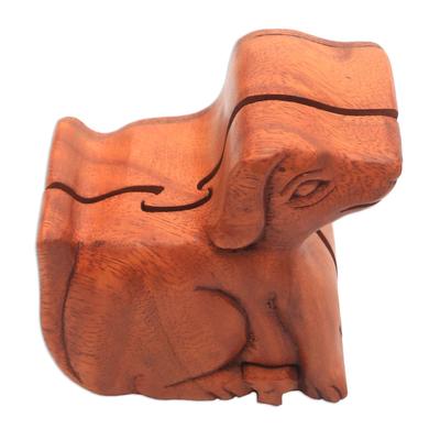 Wood puzzle box, 'Playful Dog' - Handmade Suar Wood Dog Puzzle Box from Bali