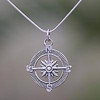 Sterling silver pendant necklace, 'Celuk Compass'