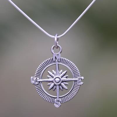 Sterling silver pendant necklace, 'Celuk Compass' - Compass-Themed Sterling Silver Pendant Necklace from Bali