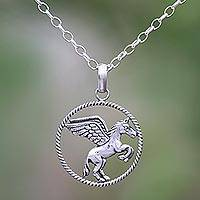 Sterling silver pendant necklace, 'Flying Pegasus' - Sterling Silver Pegasus Pendant Necklace from Bali
