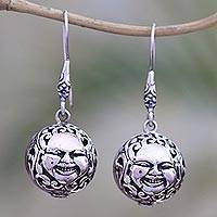Sterling silver dangle earrings, 'Grinning Faces' - Sterling Silver Face Dangle Earrings from Bali