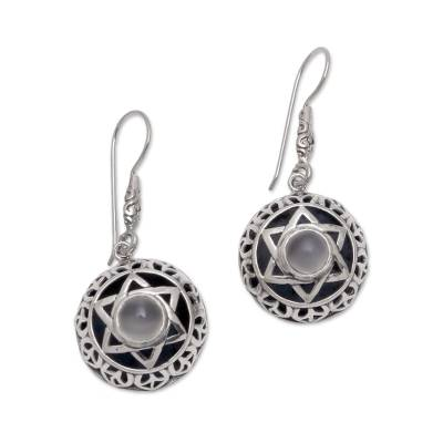 Moonstone Six-Pointed Star Dangle Earrings from Bali