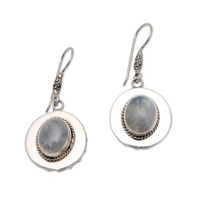 Oval Rainbow Moonstone Dangle Earrings from Bali