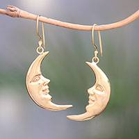 Gold plated sterling silver dangle earrings, 'Happy Moon' - Gold Plated Sterling Silver Moon Dangle Earrings from Bali