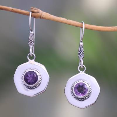 Amethyst dangle earrings, 'Gleaming Lanterns' - Circular Amethyst Dangle Earrings from Bali
