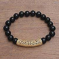 Men's gold accented onyx beaded pendant bracelet, 'Vine Arch' - Gold Accent Onyx Beaded Pendant Bracelet from Bali