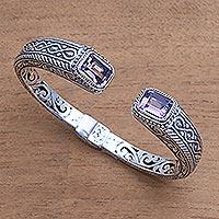 Amethyst cuff bracelet, 'Sukawati Helix' - Helix Pattern Amethyst Cuff Bracelet from Bali