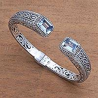 Blue topaz cuff bracelet, 'Sukawati Helix' - Helix Pattern Blue Topaz Cuff Bracelet from Bali