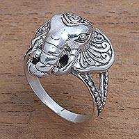 Sterling silver cocktail ring, 'Elephant King' - Sterling Silver Elephant Cocktail Ring from Bali