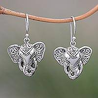 Sterling silver dangle earrings, 'Elephant King' - Sterling Silver Elephant Dangle Earrings from Bali