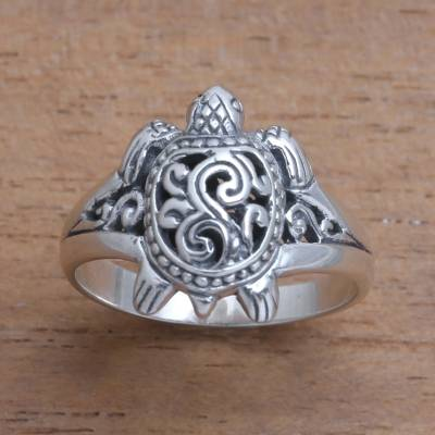 Sterling silver band ring, 'Ancient Turtle' - Sterling Silver Sea Turtle Band Ring from Bali