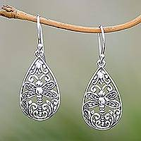 Sterling silver dangle earrings, 'Lone Dragonfly' - Sterling Silver Dragonfly Pendant Necklace from Bali