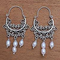 a1d11a43b Cultured pearl chandelier earrings, 'Silver-White Dew' - Silver-White  Cultured