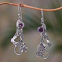 Amethyst dangle earrings, 'Flower Tendrils' - Floral Amethyst Dangle Earrings Crafted in Bali