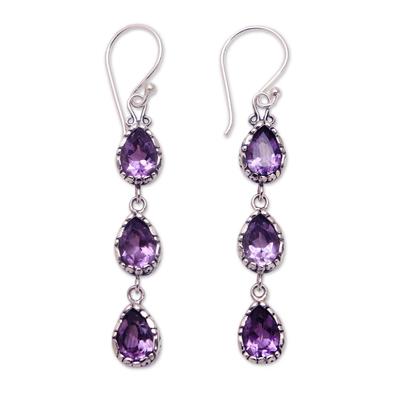 Amethyst dangle earrings, 'Eternity Drop' - 4-Carat Teardrop Amethyst Dangle Earrings from Bali