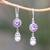 Amethyst and cultured pearl dangle earrings, 'Fruit of Light' - Amethyst and Cultured Pearl Dangle Earrings from Bali (image 2) thumbail