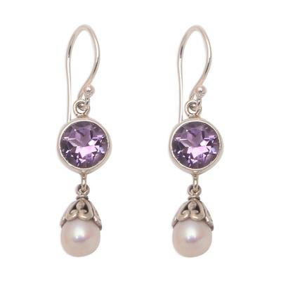Amethyst and cultured pearl dangle earrings, 'Fruit of Light' - Amethyst and Cultured Pearl Dangle Earrings from Bali