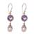 Amethyst and cultured pearl dangle earrings, 'Fruit of Light' - Amethyst and Cultured Pearl Dangle Earrings from Bali thumbail