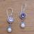 Amethyst and cultured pearl dangle earrings, 'Fruit of Light' - Amethyst and Cultured Pearl Dangle Earrings from Bali (image 2b) thumbail