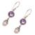 Amethyst and cultured pearl dangle earrings, 'Fruit of Light' - Amethyst and Cultured Pearl Dangle Earrings from Bali (image 2c) thumbail