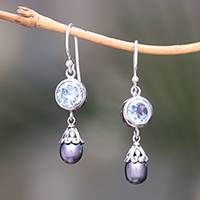 Blue topaz and cultured pearl dangle earrings, 'Fruit of Light'