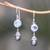 Blue topaz and cultured pearl dangle earrings, 'Fruit of Light' - Blue Topaz and Cultured Pearl Dangle Earrings from Bali (image 2) thumbail